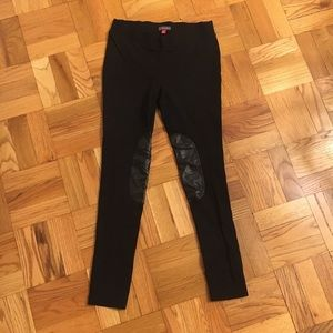 Vince Camuto Black Leggings with Leather Patch